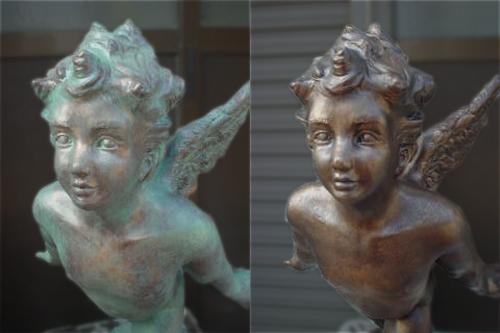 天使立体造形緑青エージング